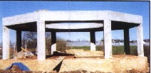 concrete framework of 8 support columns and roof