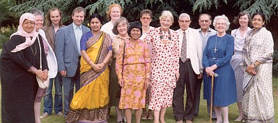Sister Mary Hall(tallest person) in a group photo at the Multi Faith Centre, Birmingham